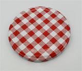 Deckel rot weiß kariert für Einmachglas TO82