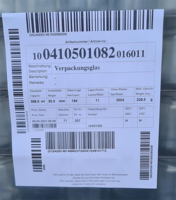 Einmachglas 388 ml Palettenware