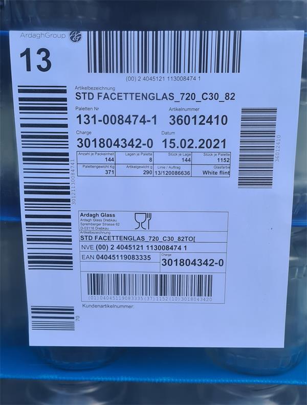 Einmachglas auf Palette 720 ml mit Facette